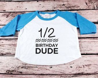 One Half Birthday Shirt Baby Boy Party Cake Smash Outfit 1 2 Dude