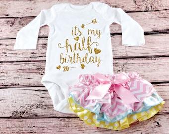 Baby Girl Half Birthday Bodysuit Cake Smash Outfit 1 2 Romper Shirt 6 Month Glitter