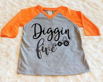Diggin Five Birthday Toddler Shirt 5th Boy Fifth Construction