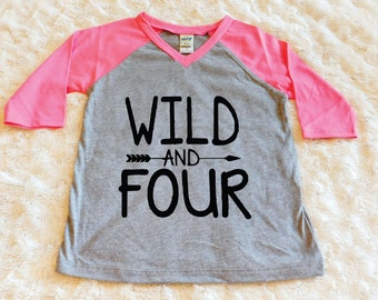 Wild And Four Baby Girl Shirt Boy Birthday 4th Fourth Outfit Cake Smash