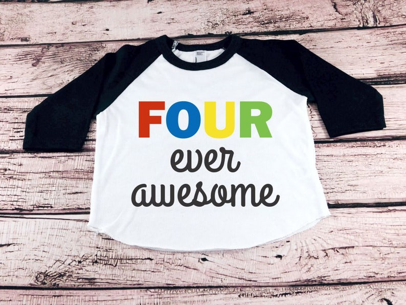 4th Birthday Shirt Four Ever Awesome Toddler Boy