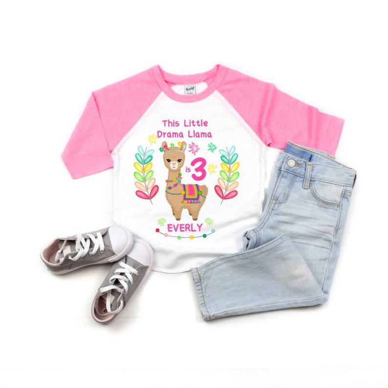 3rd Birthday Shirt Three Shirt Toddler Girl Drama Llama Llama Birthday Top Little Llama Persona,ized Toddler Girl third Birthday Shirt