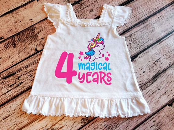 Unicorn 4th Birthday Shirt Four Girl Party Top