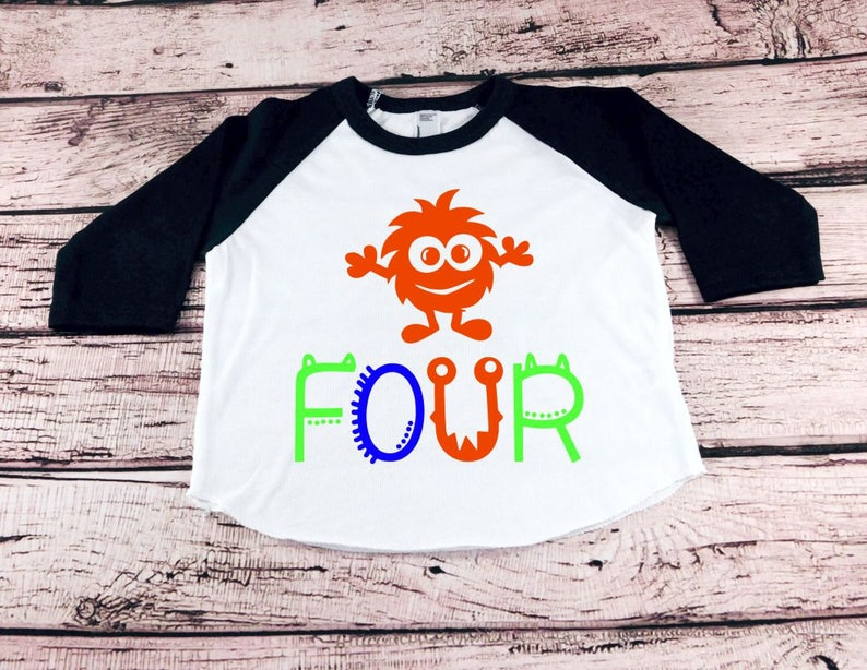 Monster 4th Birthday Shirt Toddler Boy Fourth
