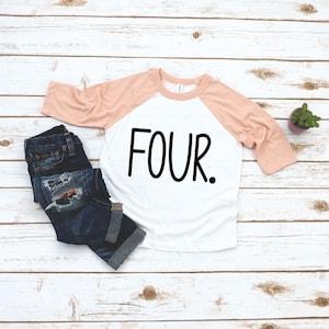 4 year old Girl 4th Birthday Girl Boy Shirt I/'m This Many Four Toddler Girl Raglan 34 Sleeve Top Fourth Birthday Girl Outfit