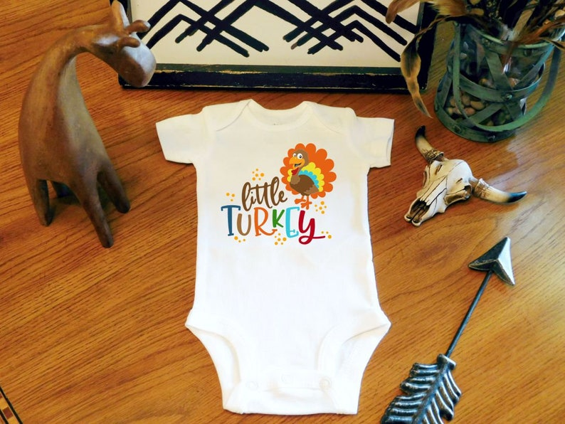 e944e70f6 Thanksgiving Baby Little Turkey Bodysuit Boy Turkey Bodysuit | Etsy