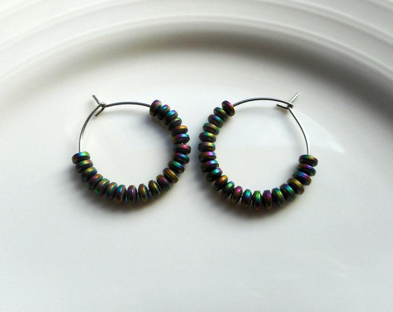 Rainbow hematite gemstone bead hoop earrings-choose gloss or matte finish beads-hypoallergenic stainless steel hoops