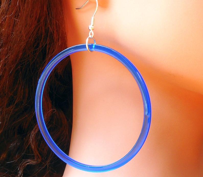 Very big blue hoop earrings-discounted price due to 1 imperfect hoop-extra large acrylic acetate cobalt blue hoop earrings