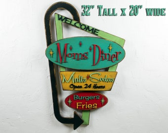 2ce363894a844 Welcome Sign Moms Diner Welcome Kitchen Personalized Decor Retro Welcome Sign  Vintage Look Retro Restaurant Sign Route 66 Retro Diner Sign