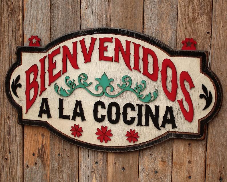 Bienvenidos Cocina Spanish Decoration Kitchen Decor Mexican Etsy