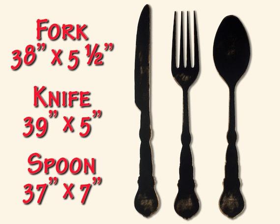 Fork And Spoon Decor Fork Wall Decor Farmhouse Home Decor Large Fork And Spoon Spoon Wall Decor Fork And Spoon Art Fork Spoon Knife Kitchen