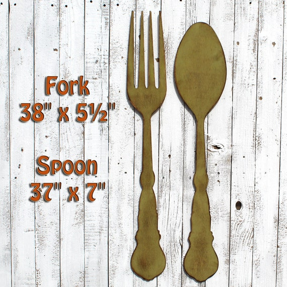 Fork Wall Decor Fork Spoon Art Dining Room Decor Farmhouse Kitchen Large Fork Spoon Rustic Dining Room Retro Big Fork Spoon Fork Spoon Decor