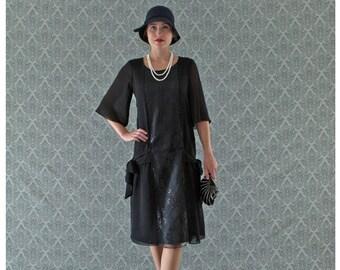 Black 1920s dress, Great Gatsby dress, 1920s flapper dress, Charleston dress, 20s costume, Downton Abbey dress, 1920s clothing, 20er kleider