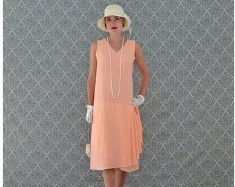 13ab322a584 Sweet peach Great Gatsby dress with drape and bow