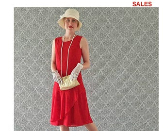SALE - Red flapper dress with a ruffled skirt detail, 1920s Great Gatsby dress, Prohibition party dress, Roaring 20s dress, Gatsby dress