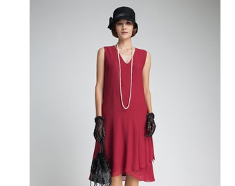 d3cbc95269f Maroon flapper dress with drape and bow