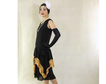 Flapper costume in black and goldenrod with handkerchief skirt, 1920s flapper dress, black Great Gatsby dress, 20er kleid, robe annees 20