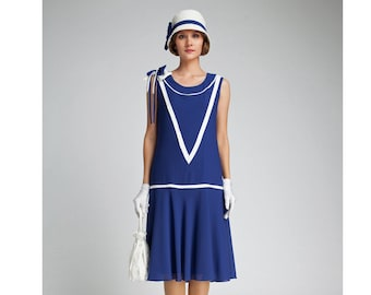 Great Gatsby dress in dark blue and off-white, 1920 party dress, blue flapper dress, navy Gatsby dress, Miss Fisher dress, robe années 20