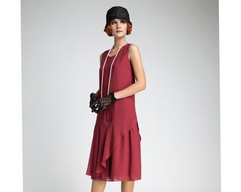 9be736fe9ba Great Gatsby dress in maroon with tiered skirt 1920s dress
