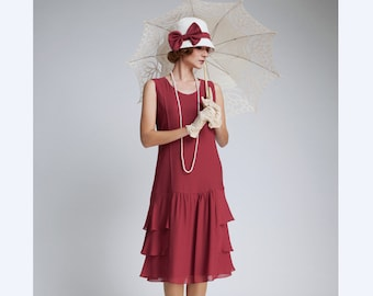 Great Gatsby chiffon dress in maroon with tiered skirt,  red 1920s dress, flapper dress, dark red dress, robe années 20, red high tea dress