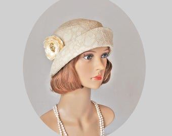 Lovely Downton Abbey cloche hat with folded brim, 1920s flapper hat, Great Gatsby hat, 20s tea hat, summer cloche hat, Charleston hat