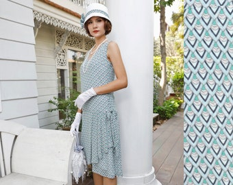 d3803ea26e33 1920s-inspired flapper dress in blue & green printed chiffon with drape and  bow, 1920s dress, Great Gatsby dress, Downton Abbey dress