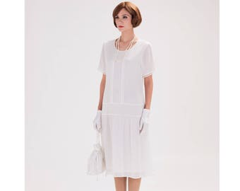 Off-white flapper dress with short sleeves, 1920s flapper dress, Downton Abbey dress, high tea dress, 1920s wedding dress, bridesmaid dress