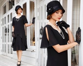 Black 1920s dress with sweetheart neckline, Great Gatsby dress, black flapper dress, Downton Abbey dress, Lady Mary dress, Charleston dress