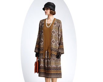 2-piece brown vintage inspired jacket and dress with printed skirt, 1920s flapper outfit , two-piece Great Gatsby ensemble robe Charleston