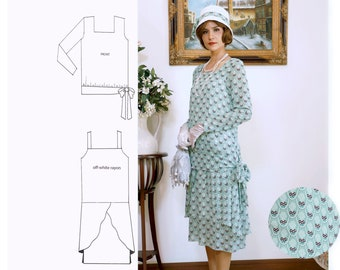 1920s two-piece dress in printed light green chiffon, 1920s 2-piece ensemble, Downton Abbey dress, 1920s high tea outfit, 20er kleider