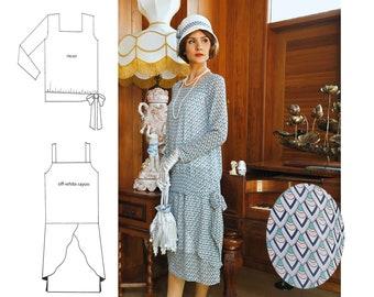 1920s art deco two-piece chiffon dress, 1920s ensemble, Downton Abbey dress, 1920s high tea dress, Great Gatsby dress, 1920er kleider