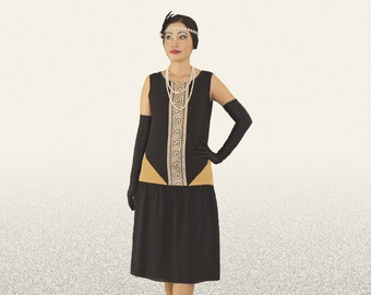 a1083cac Art deco dress in black and dark beige details, black and gold flapper dress,  Great Gatsby dress, Roaring 20s clothing, 1920s flapper dress