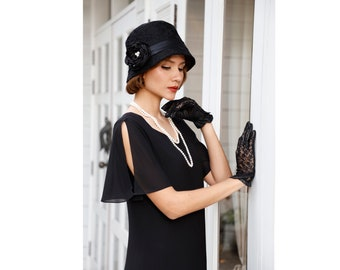 c81f09672218 1920s dress in black with sweetheart neckline