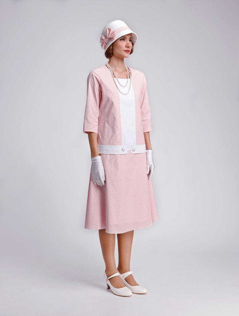 Modest, Mature, Mrs. Vintage Dresses – 20s, 30s, 40s, 50s, 60s Cotton Great Gatsby dress in white and pink with square neck pink art deco dress 1920s high tea dress Downton Abbey dress 1920er kleid $140.00 AT vintagedancer.com