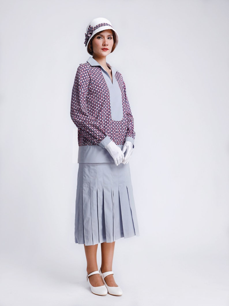 Old Fashioned Dresses | Old Dress Styles Multicolored cotton dress with grey knife pleat skirt 1920s two piece dress Great Gatsby cotton dress 1920s fashion 1920s high tea dress $150.00 AT vintagedancer.com