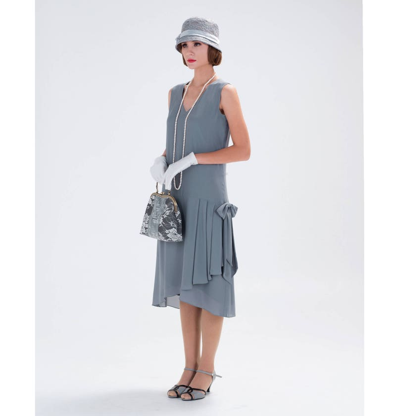 680ed740edf 1920s-inspired flapper dress in grey with drape and bow 1920s