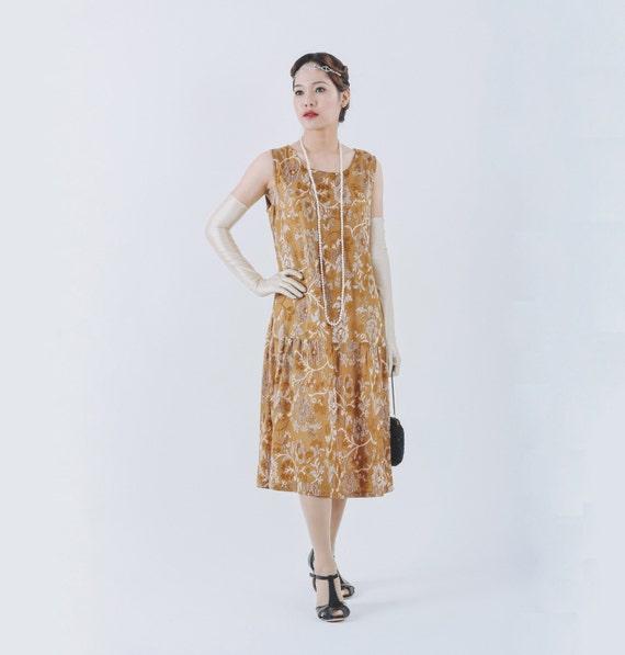 Elegant Great Gatsby dress with brown burnout velvet 1920s   Etsy