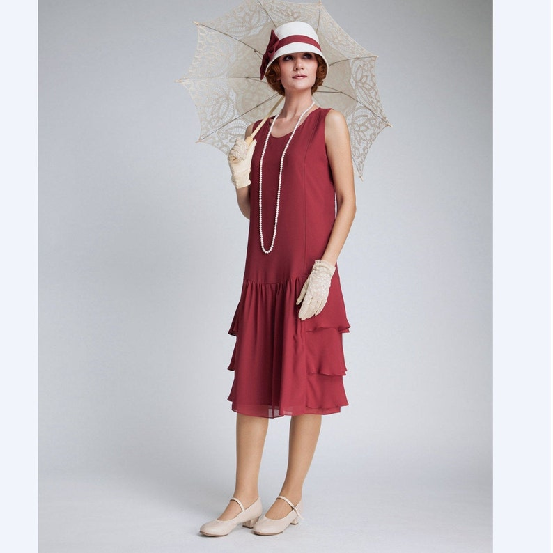 Vintage 1920s Dresses – Where to Buy     Great Gatsby chiffon dress in maroon with tiered skirt  red 1920s dress flapper dress dark red dress robe années 20 red high tea dress $130.00 AT vintagedancer.com