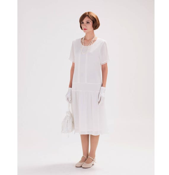Off White Flapper Dress With Short Sleeves 1920s Flapper Etsy