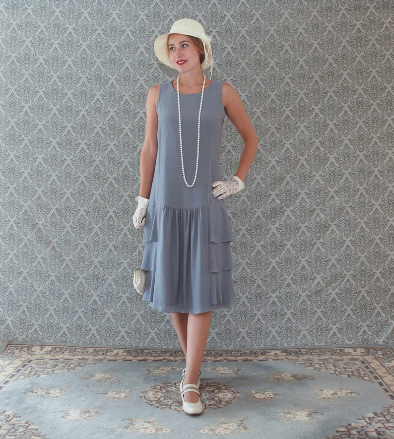 927200a6a28 Grey drop waist dress with tiered skirt Great Gatsby party