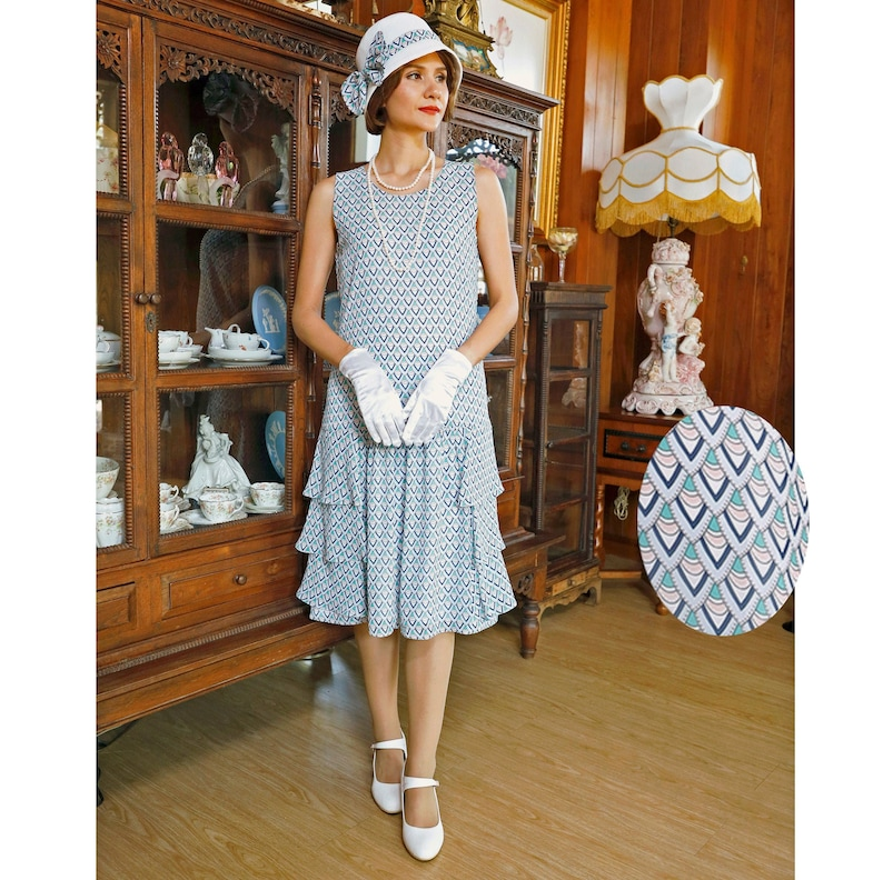 1920s Style Dresses, 20s Dresses Lady Mary dress in blue & green deco print with tiered skirt Roaring 20s dress Great Gatsby dress Downton Abbey dress 1920s tea dress $130.00 AT vintagedancer.com
