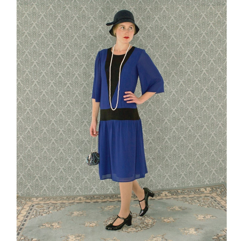 1920s Day Dresses, Tea Dresses, Mature Dresses with Sleeves Dark blue and black Great Gatsby party dress wth elbow length sleeves art deco dress Charleston dress Downton Abbey dress Jazz Age dress $104.00 AT vintagedancer.com