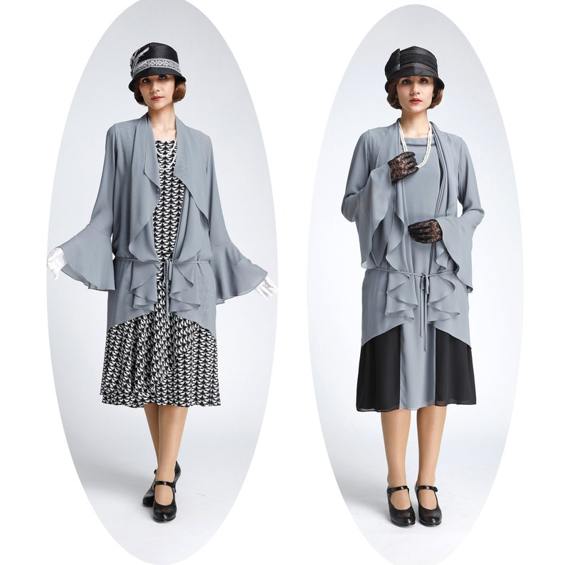 1920s Day Dresses, Tea Dresses, Mature Dresses with Sleeves Grey chiffon cardigan with cascade collar grey Great Gatsby jacket 1920s high tea cardigan grey flapper jacket Downton Abbey jacket $68.00 AT vintagedancer.com