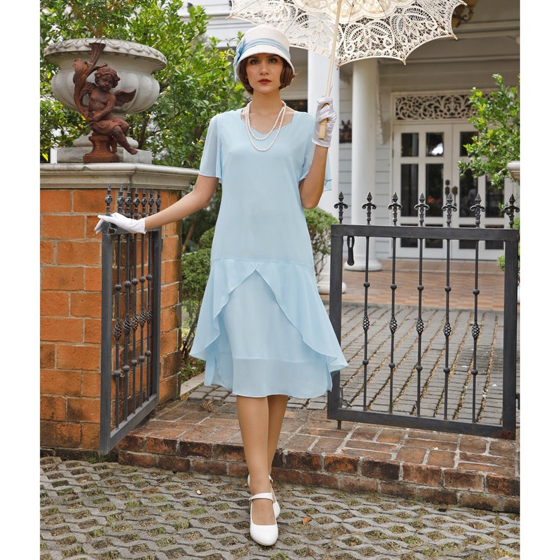 1d229ff6 1920s Great Gatsby dress in light blue with sweetheart   Etsy
