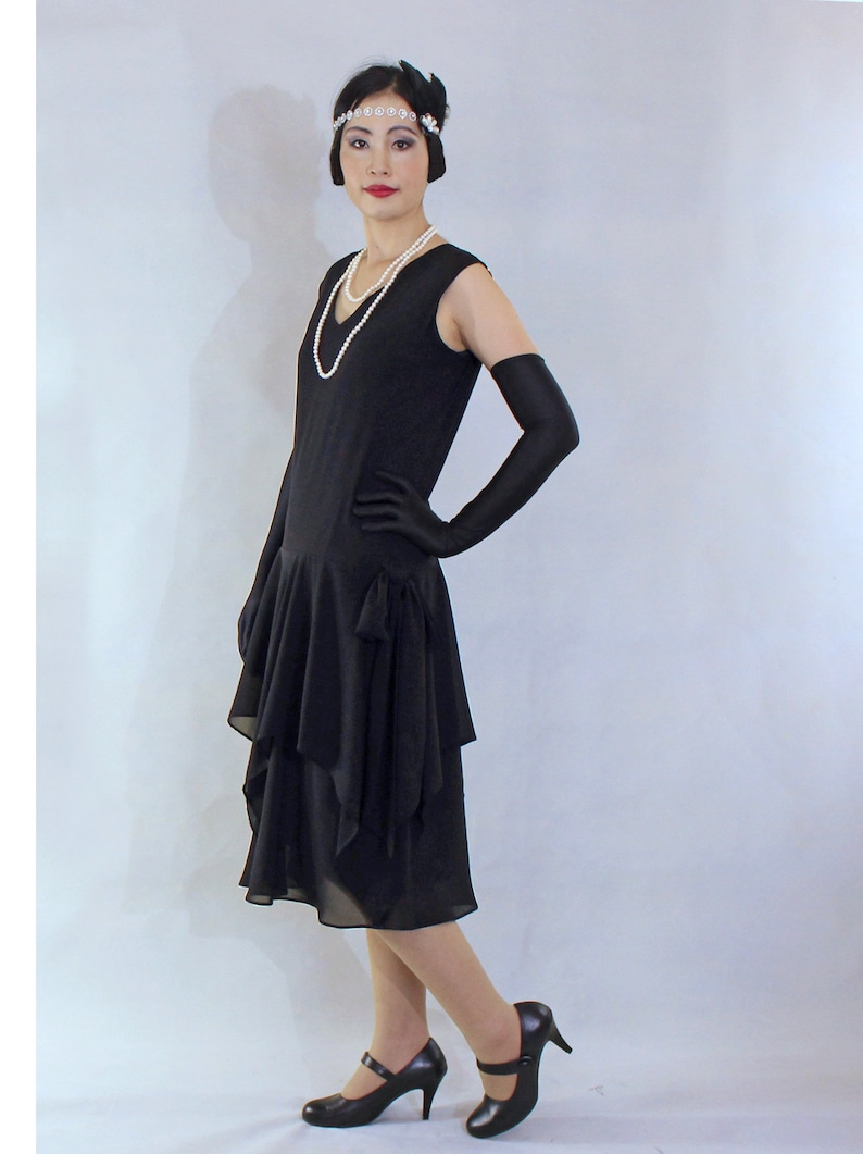 1920s Style Dresses, 20s Dresses Black 1920s dress with handkerchief skirt black 20s dress black Great Gatsby dress black Charleston dress Downton Abbey dress $104.00 AT vintagedancer.com