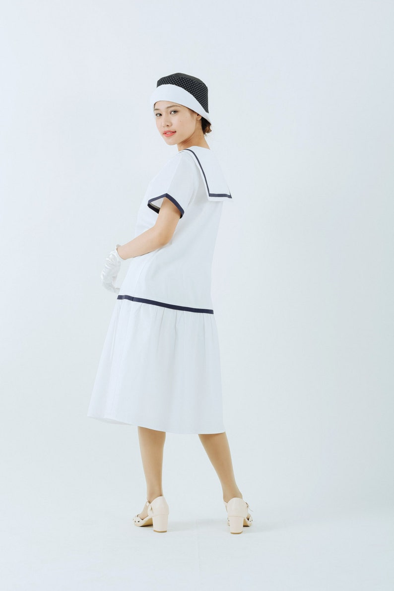 Sailor Dresses, Nautical Theme Dress, WW2 Dresses White 1920s sailor dress with navy details white 20s day dress nautical flapper dress 1920s women clothing white Great Gatsby dress $130.00 AT vintagedancer.com