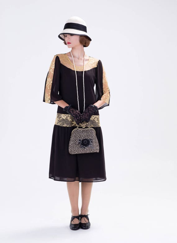 Great Gatsby Dress In Black And Gold 1920s Dress Flapper Etsy