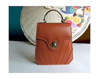 Tan leather purse, art deco leather handbag, 20s vintage leather purse, brown leather purse, 1950s vintage handbag, Great Gatsby handbag