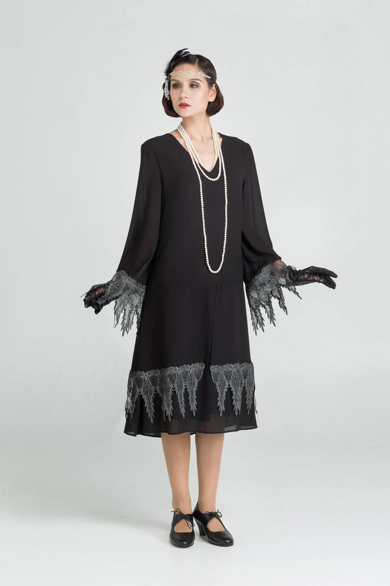 1920s Style Dresses, 20s Dresses Great Gatsby party dress with long sleeves and lace trim Charleston dress Art Deco party dress black 1920s costime black flapper dress $112.00 AT vintagedancer.com