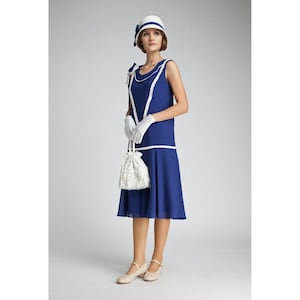 1920s Afternoon Dresses, White Tea Dresses Great Gatsby dress in dark blue and off-white $135.00 AT vintagedancer.com